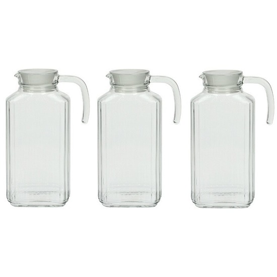 3x Glazen schenkkan met handvat 1,7 L