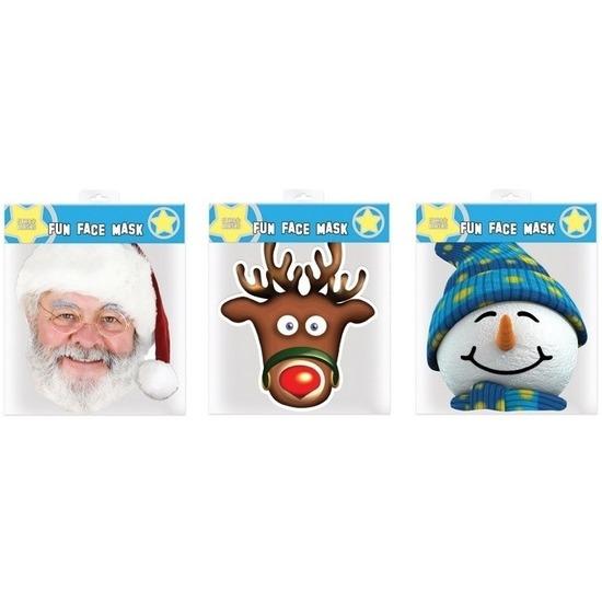 3x Kerst thema verkleed maskers