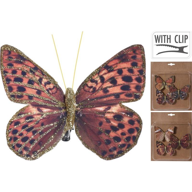 3x Kerstboomversiering vlinders op clip rood/bruin/goud 10 cm