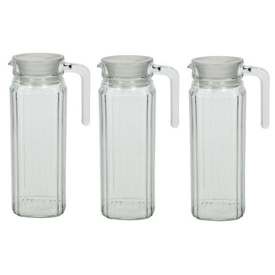 3x Lange glazen karaf met handvat 1,1 L