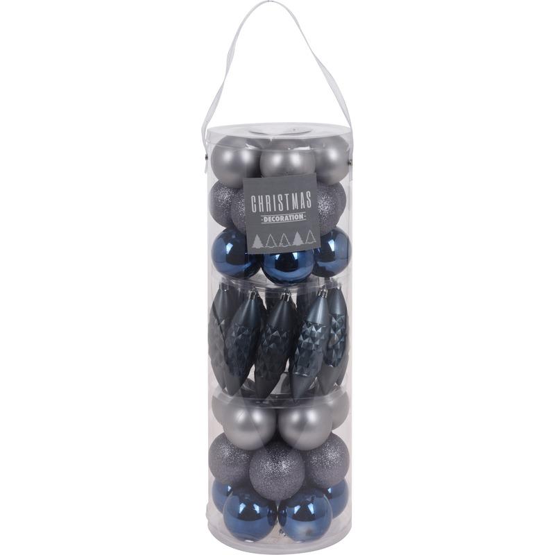 40x Blauw/grijs tinten kerstballen/pegels 6 cm kunststof