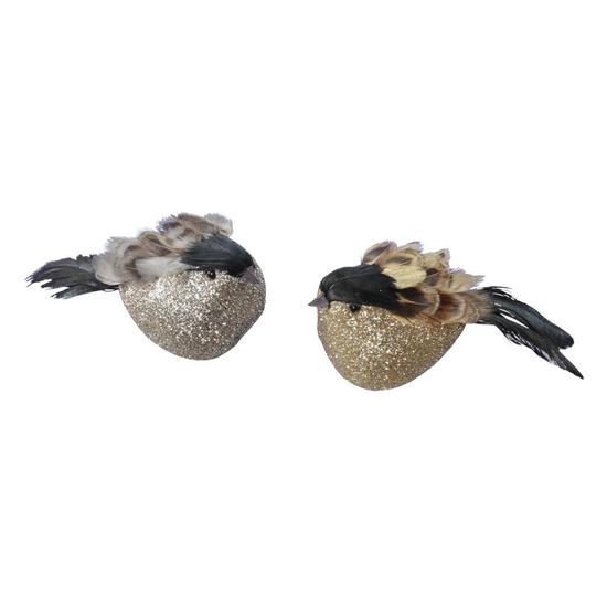4x Decoratie vogels op clip oker/grijs 11 cm