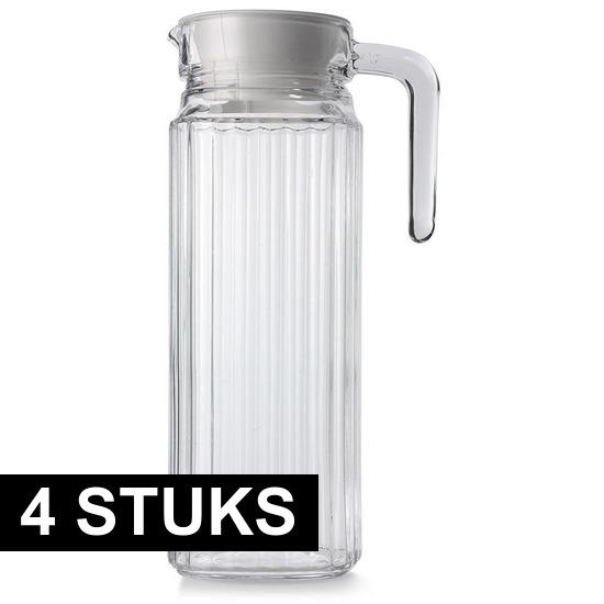 4x Glazen koelkast schenkkannen met dop 1,1 L
