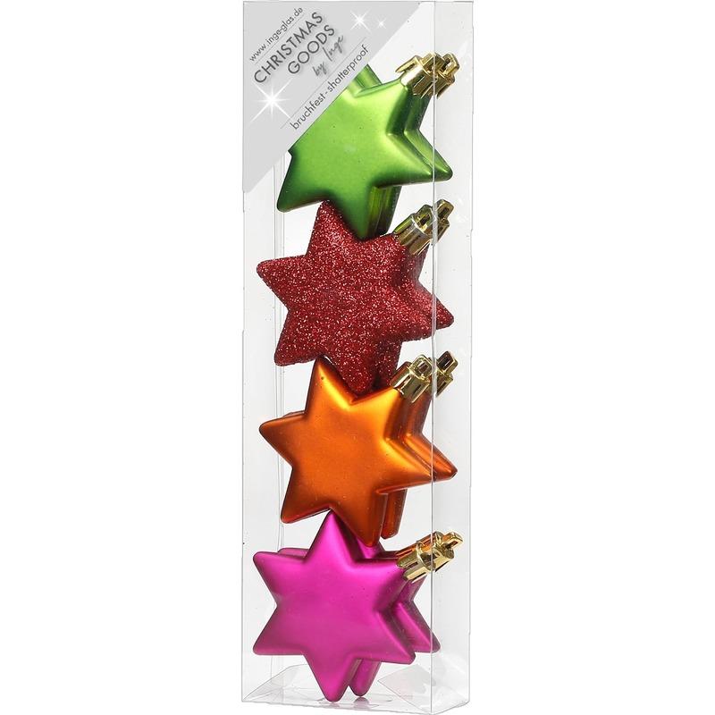 4x Kersthangers figuurtjes gekleurde sterren 6 cm