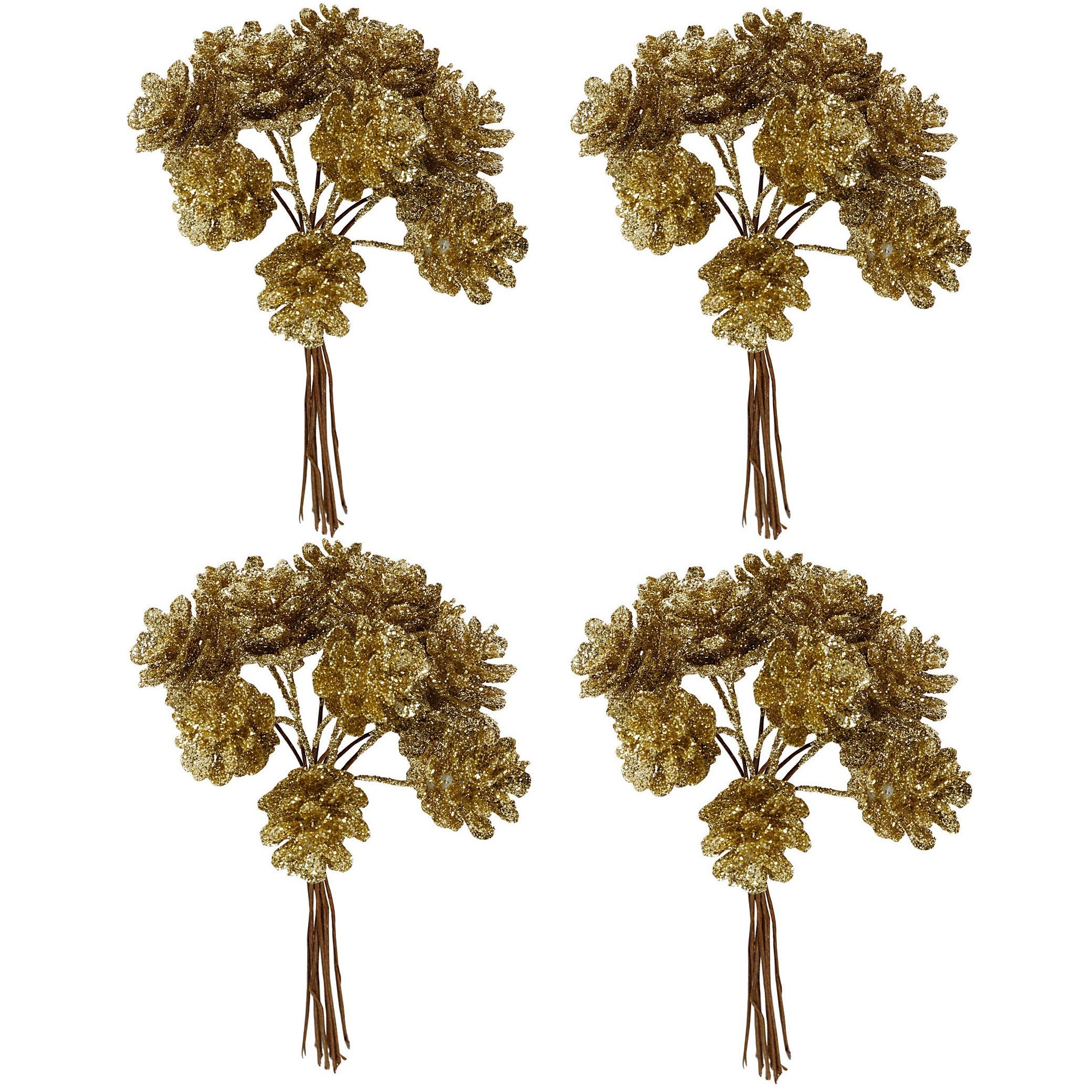 4x Kerststukje instekers bosje van 12 gouden dennenappels op draad