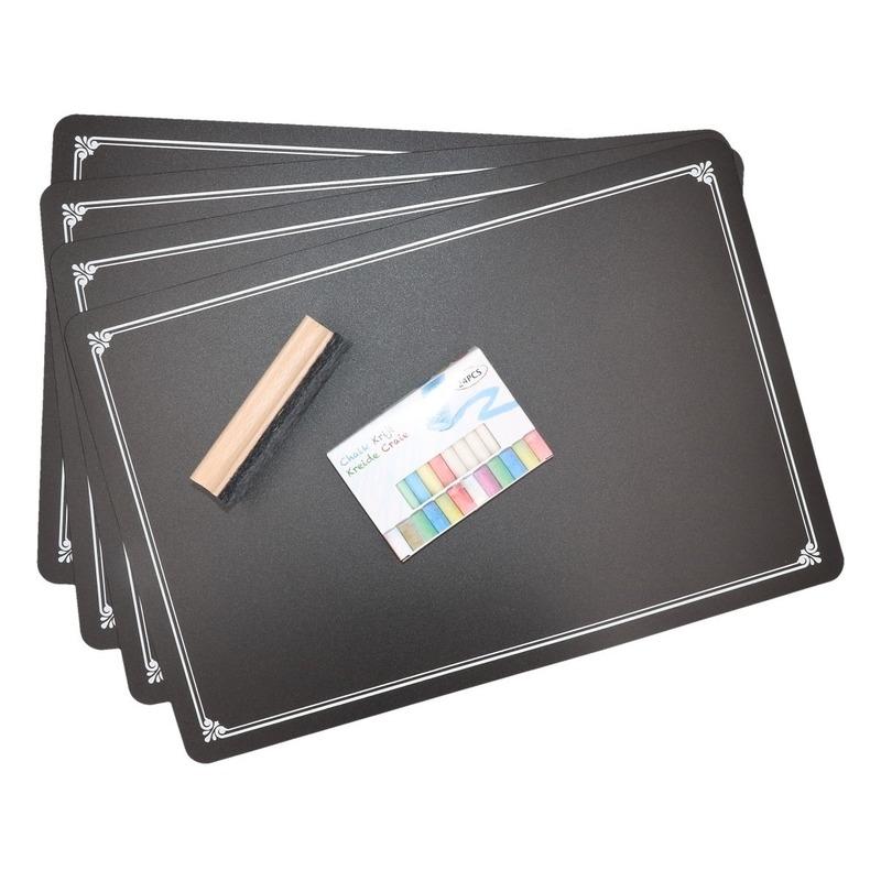 4x Krijtbord placemats met krijtjes en wisser