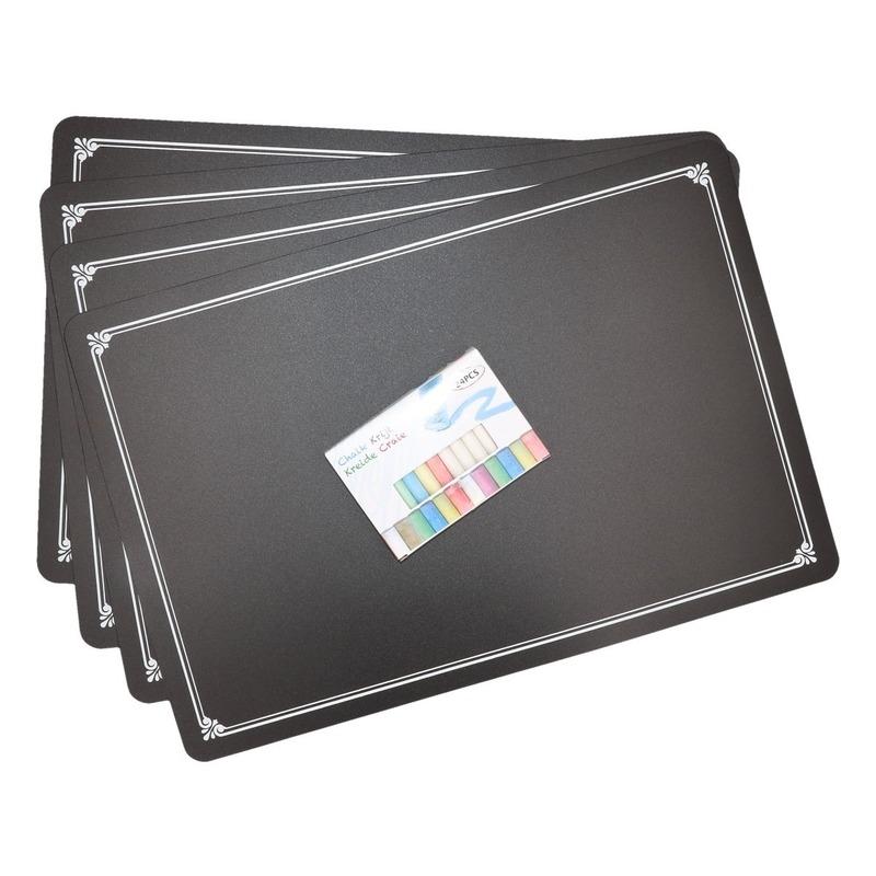 4x Krijtbord placemats met krijtjes