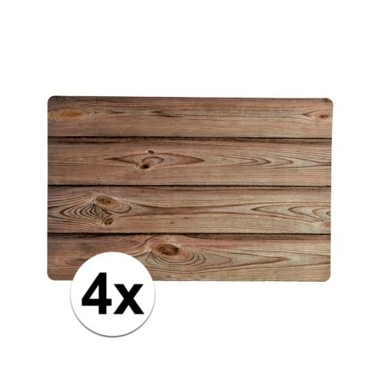 4x placemats houten planken design