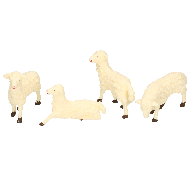 4x Witte schapen miniatuur beeldjes 7 x 6 cm dierenbeeldjes