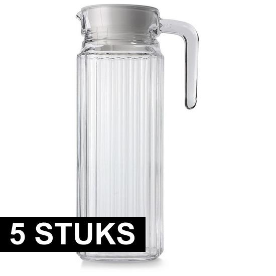5x Glazen koelkast schenkkannen met dop 1,1 L