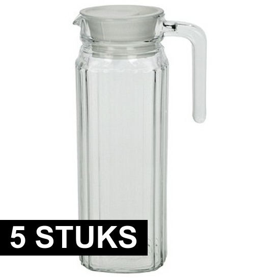 5x Lange glazen karaf met handvat 1,1 L