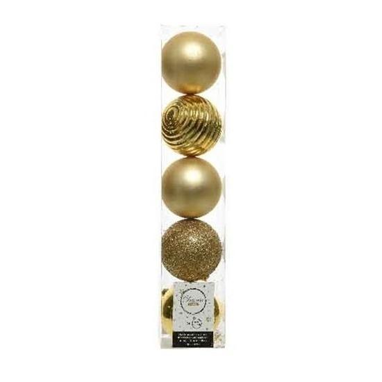 5x Licht gouden kerstballen 8 cm kunststof mix