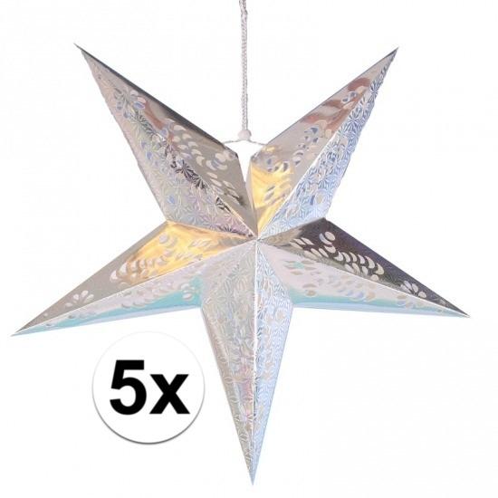 5x stuks decoratie sterren lampionnen zilver van 60 cm
