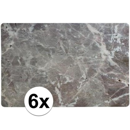 6 x Placemat marmer grijs 43 x 28 cm
