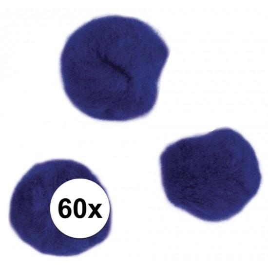 60x knutsel pompons 15 mm donkerblauw