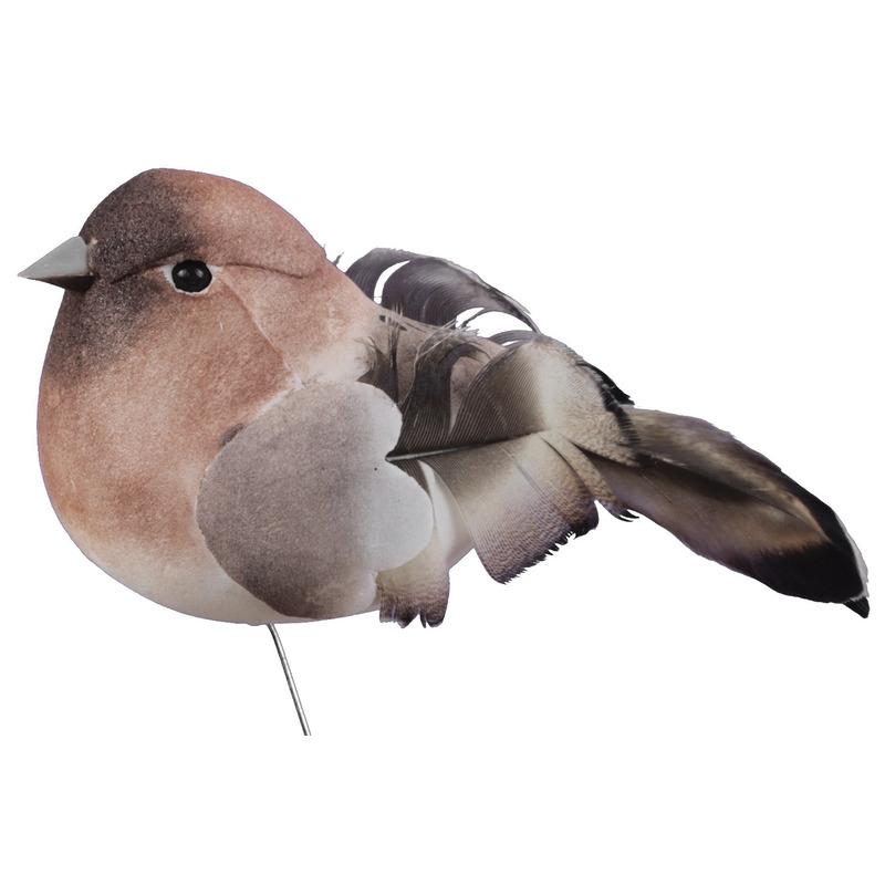 6x Bruine decoratie vogeltjes op draad 8,5 cm
