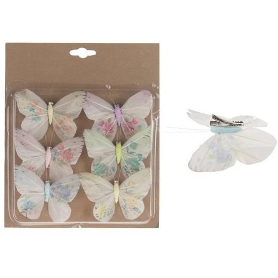 6x Decoratie vlinders op clip multi 10 cm