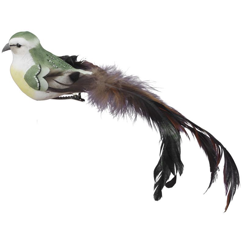 6x Decoratie vogeltjes groene vogels op clip 21 cm