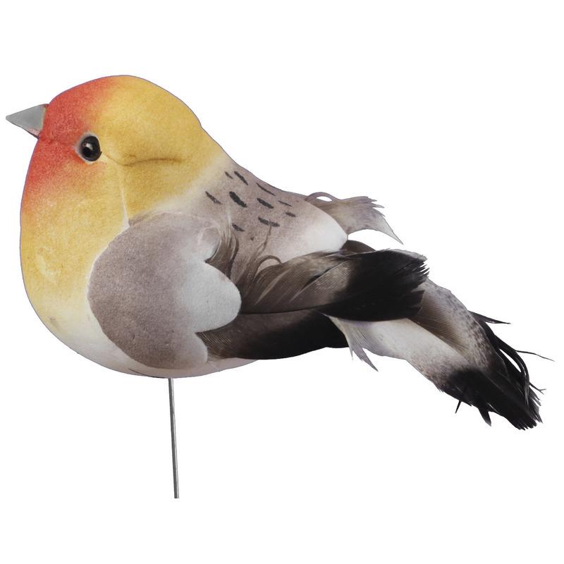 6x Gele decoratie vogeltjes op draad 8,5 cm