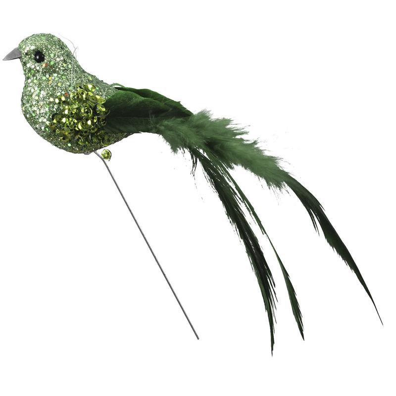 6x Groene decoratie glitter vogeltjes op draad 15 cm