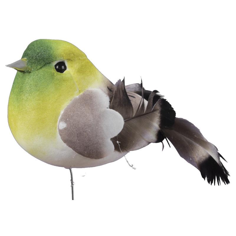 6x Groene decoratie vogeltjes op draad 8,5 cm