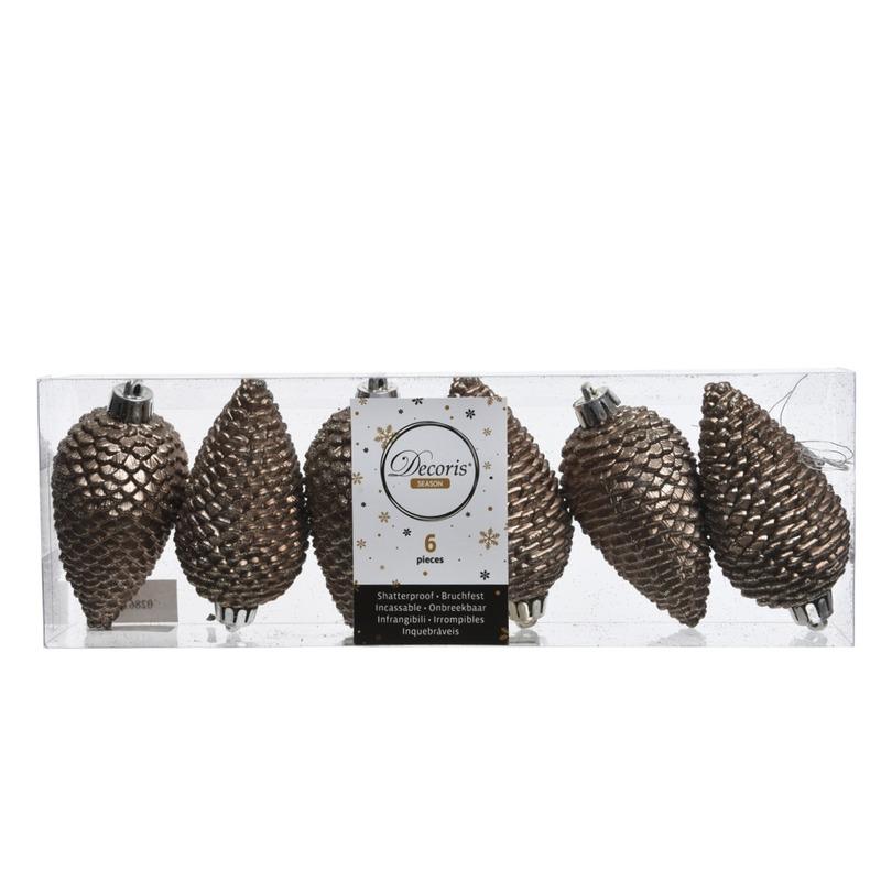 6x Kasjmier Bruine Dennenappels Kerstballen 8 Cm Kunststof Glitt