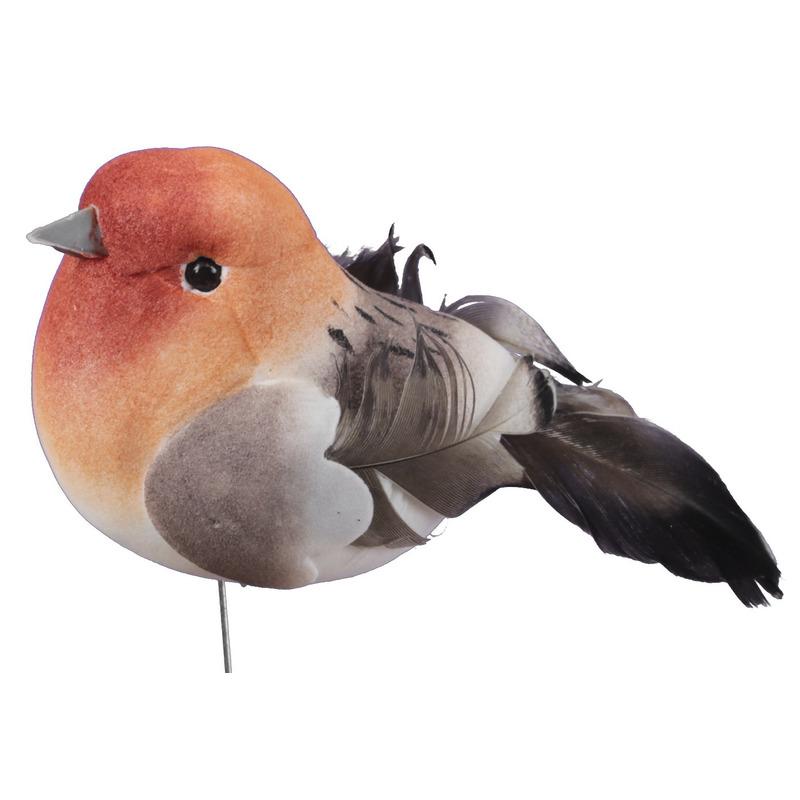 6x Oranje decoratie vogeltjes op draad 8,5 cm