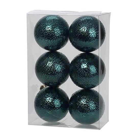 6x Petrol blauwe cirkel motief kerstballen 6 cm kunststof