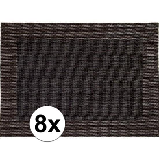 8x Placemats donkerbruin geweven/gevlochten met rand 45 x 30 cm