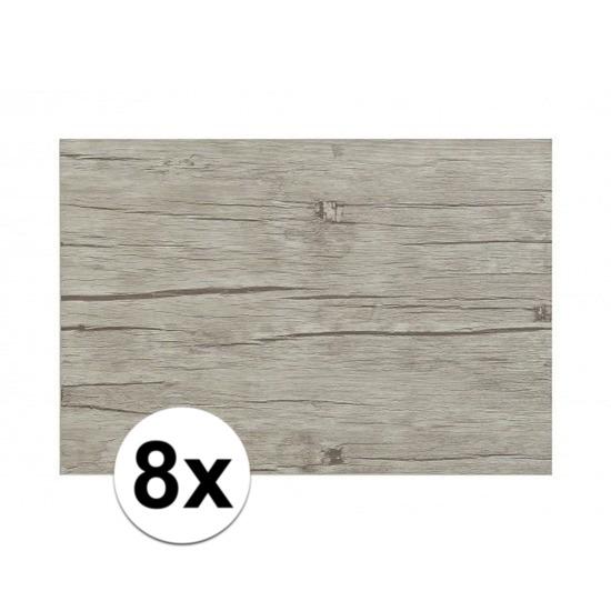 8x Placemats in lichtgrijs woodlook print 45 x 30 cm