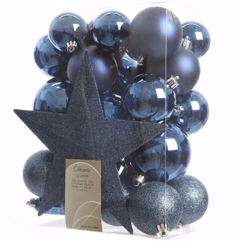 Blauwe kerstboomversiering set Elegant Christmas 33 delig