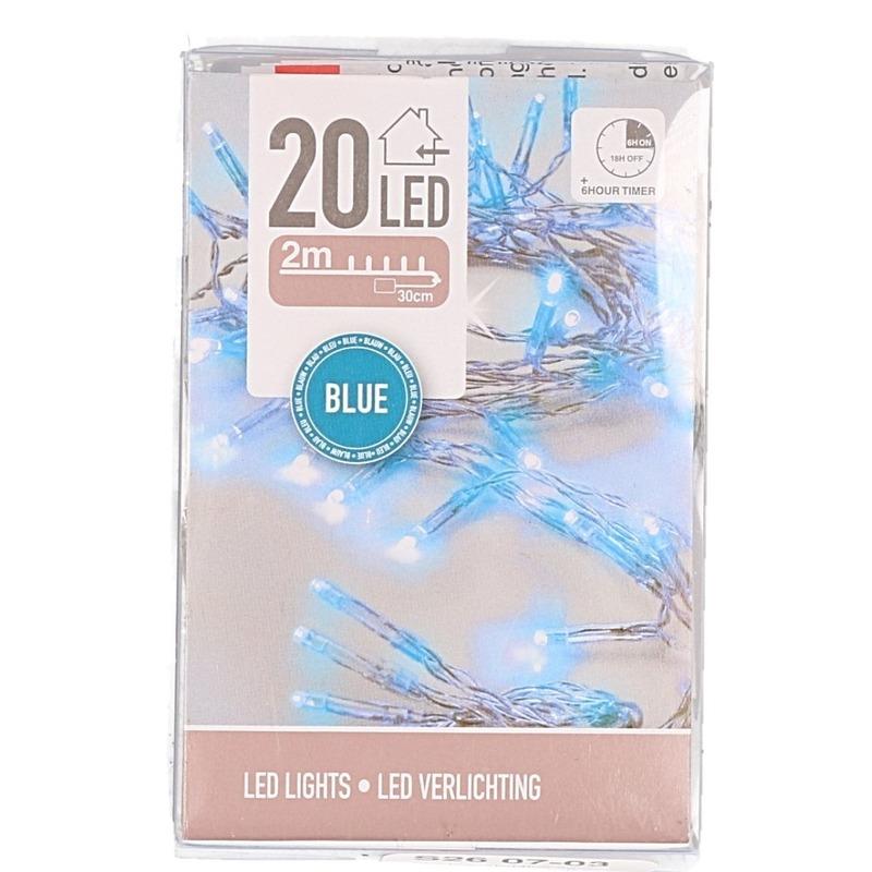 Blauwe lichtsnoer clusterverlichting op batterijen 200 cm