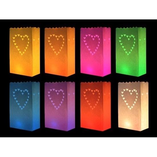 Candle bags set hartjes gekleurd 10x stuks