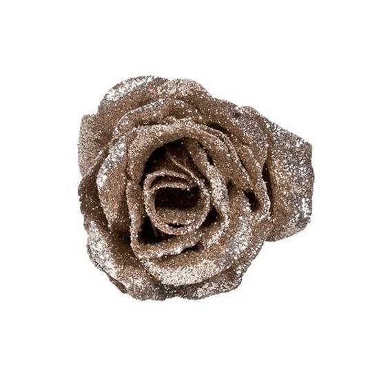 Champagne roos met glitters op clip 7 cm - kerstversiering