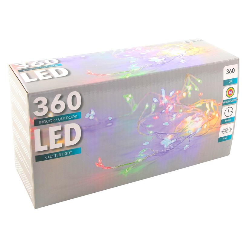 Cluster timer draadverlichting 360 pastel gekleurde lampjes