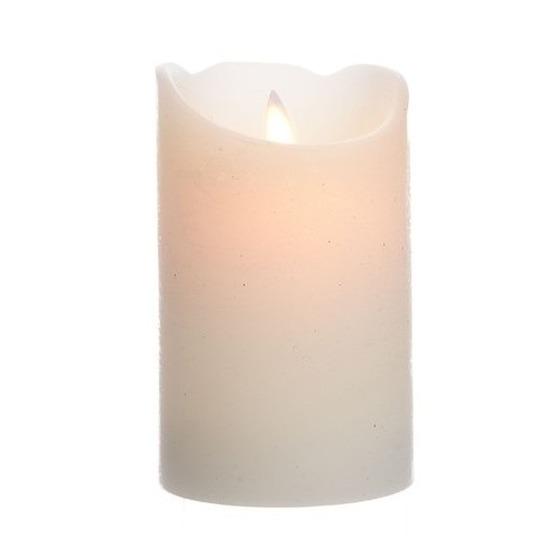 Creme witte LED kaarsen/stompkaarsen 12 cm flakkerend