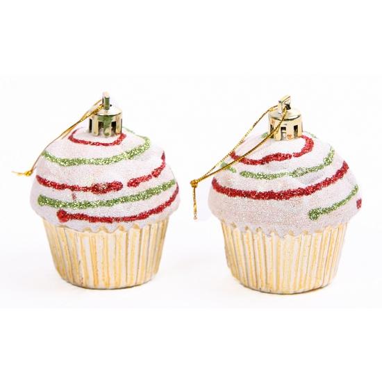 Cupcake hangdecoratie setje goud