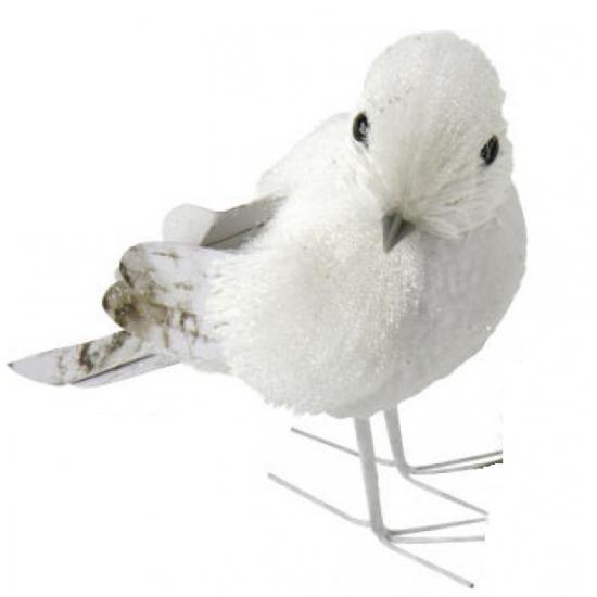 Decoratie vogel met glitters12 cm type 1