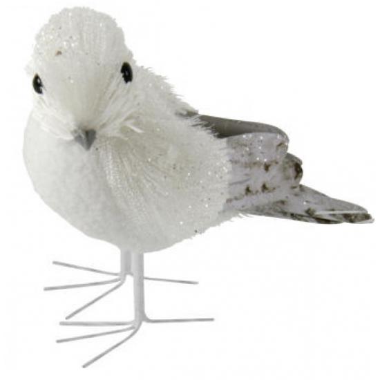 Decoratie vogel met glitters12 cm type 2