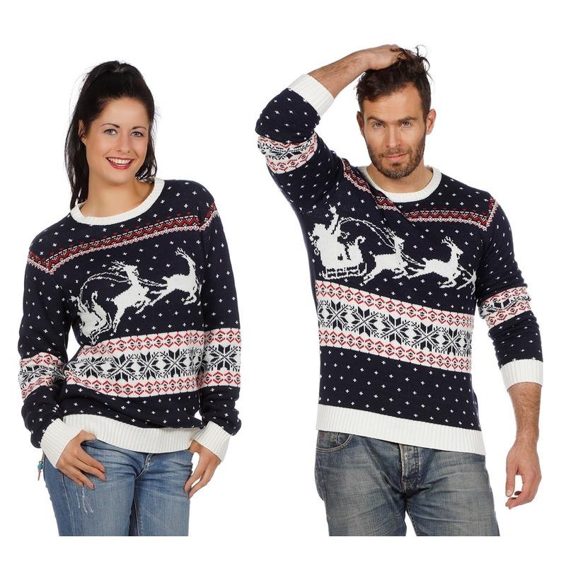 Foute Kersttrui Volwassenen.Donkerblauwe Kerst Trui Met Rendieren En Slee Voor Volwassenen Voor