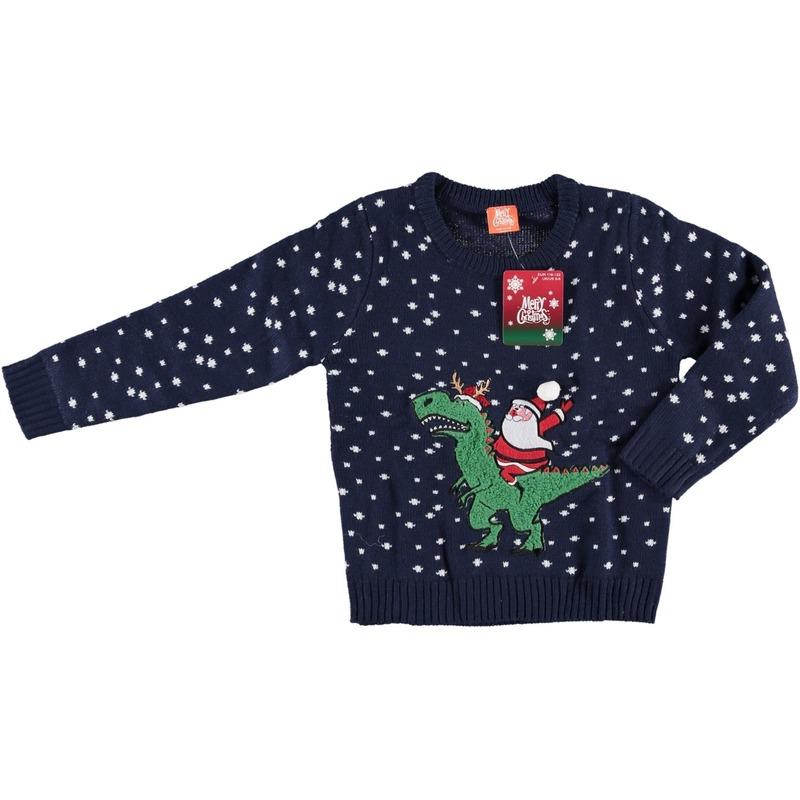 Donkerblauwe kersttrui kerstman op dinosaurus voor kinderen