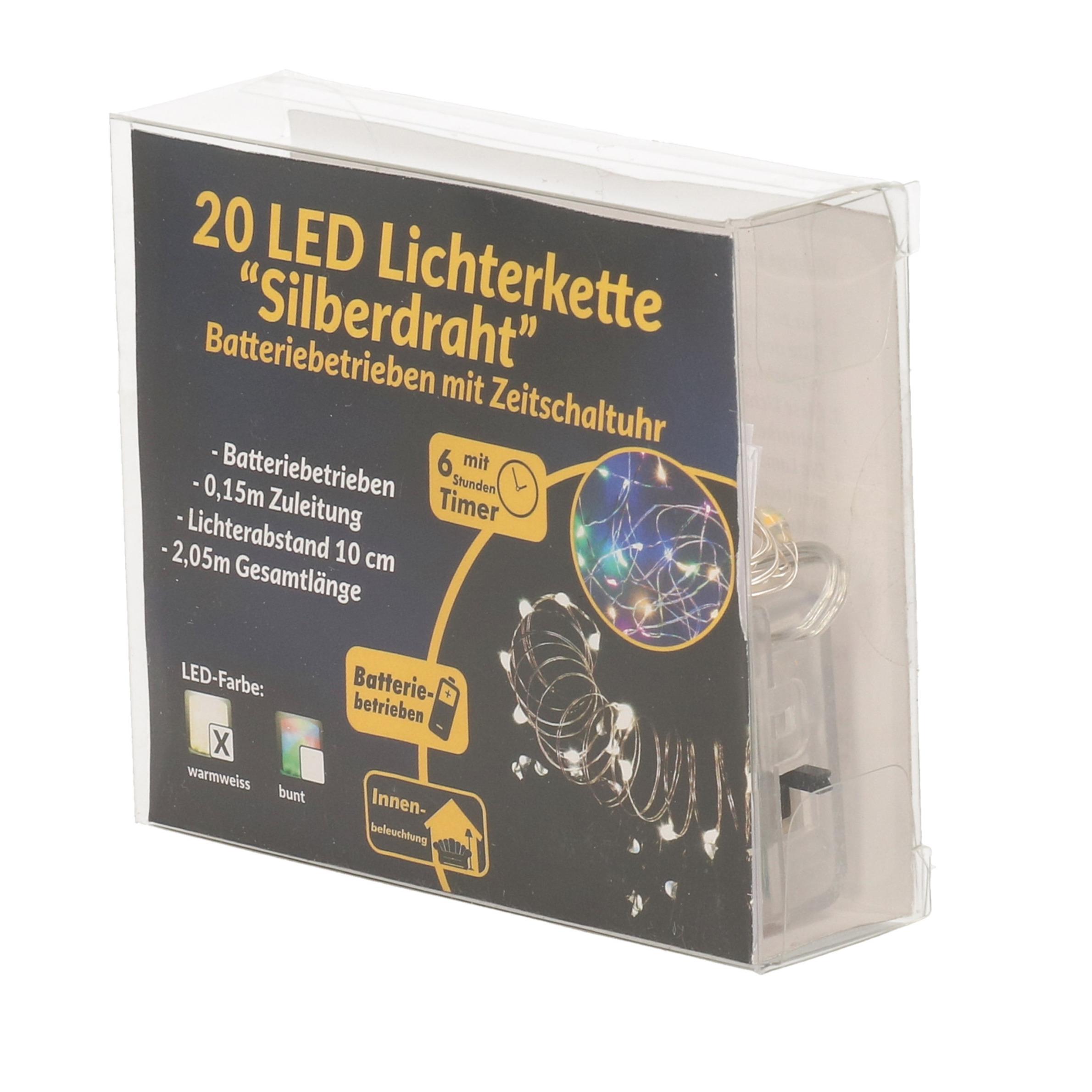 Draadverlichting zilver met gekleurde LED lampjes 2 meter op batterijen met timer