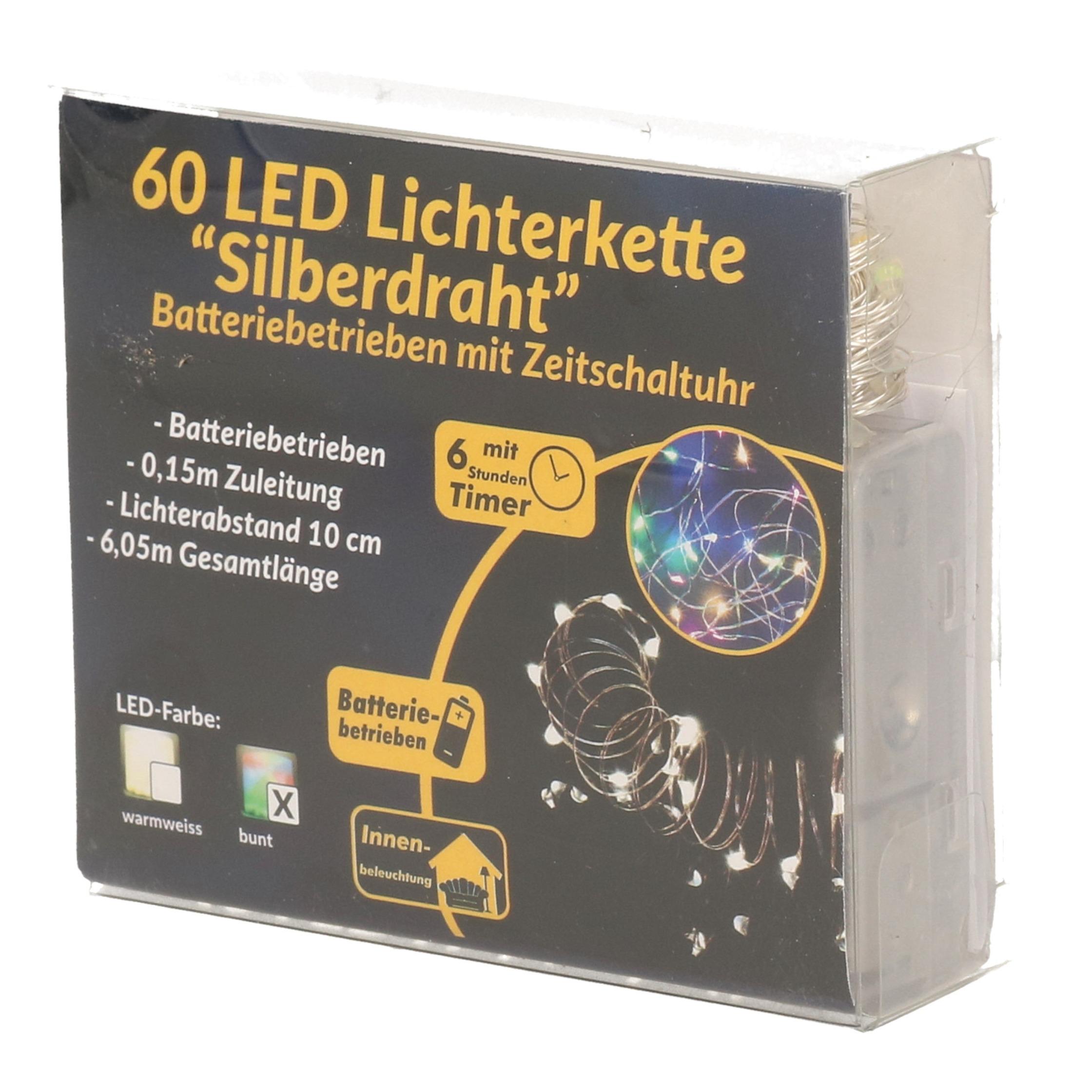 Draadverlichting zilver met gekleurde LED lampjes 6 meter op batterijen met timer