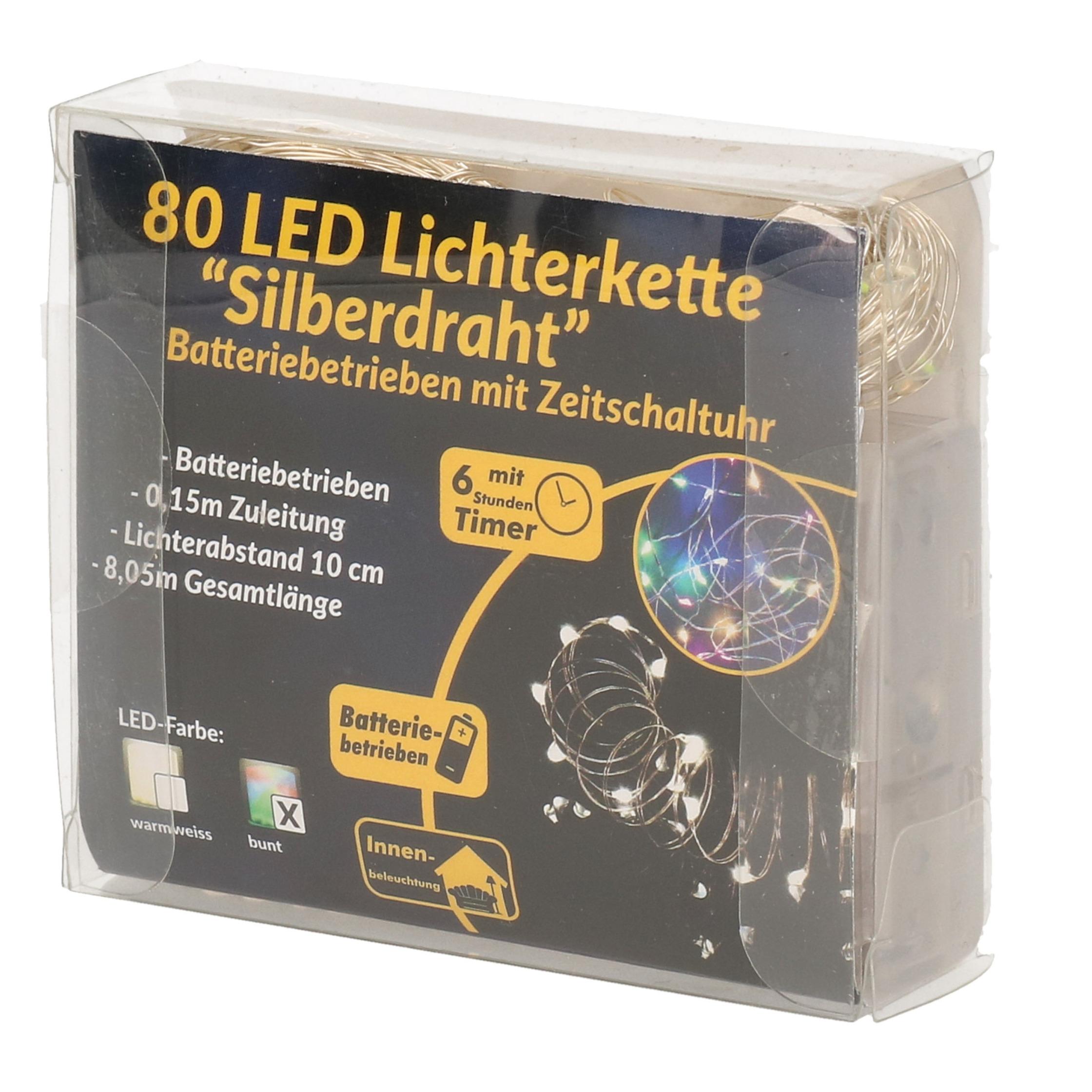 Draadverlichting zilver met gekleurde LED lampjes 8 meter op batterijen met timer