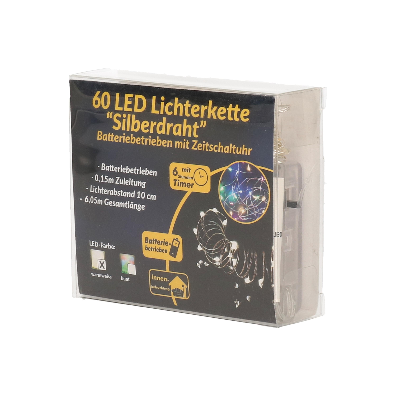 Draadverlichting zilver met warm witte LED lampjes 6 meter op batterijen met timer