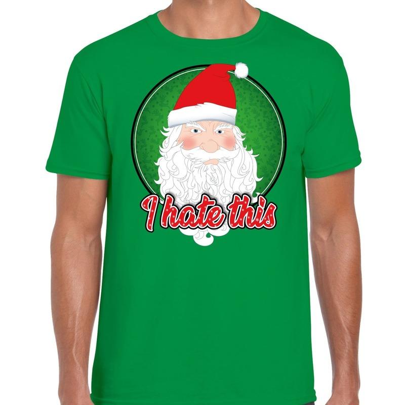 Fout kerst shirt I hate this groen voor heren