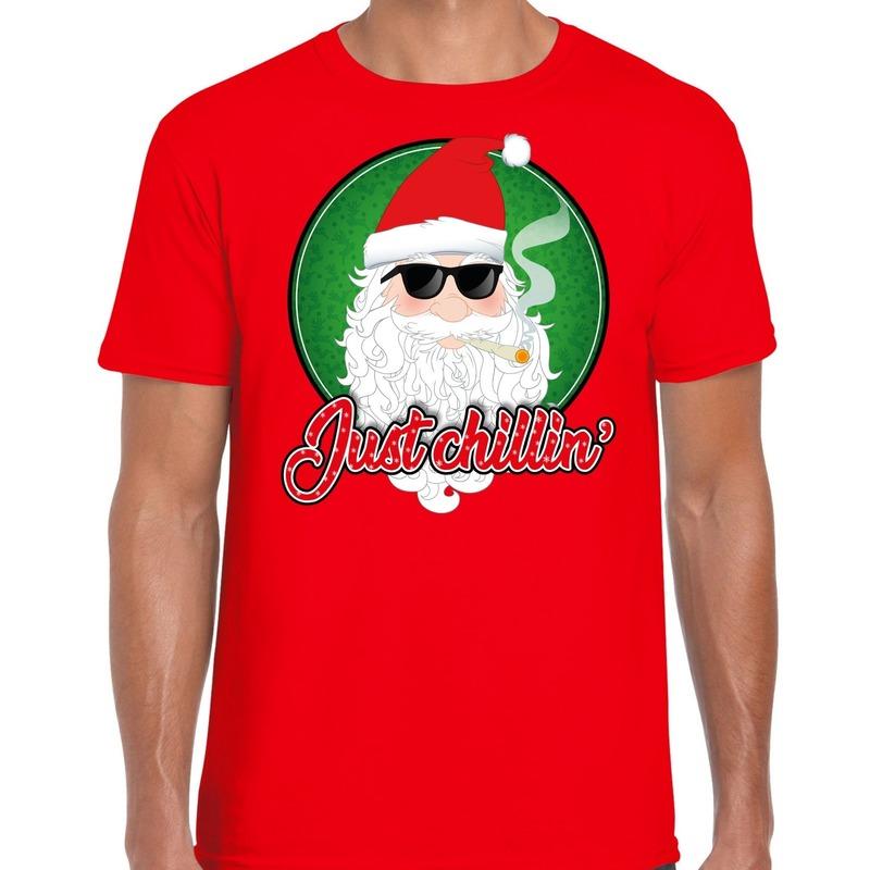 Fout kerst shirt just chillin rood voor heren