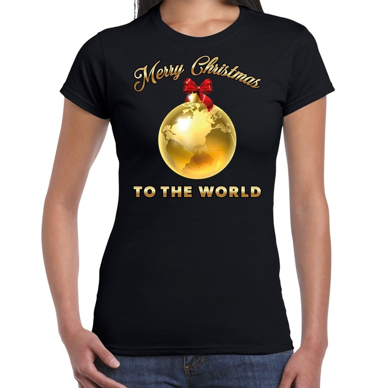 Fout kerst shirt Merry Christmas to the world zwart voor dames