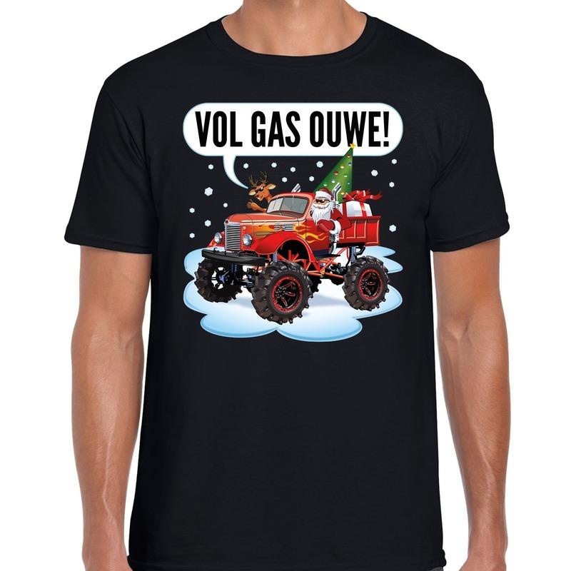 Fout kerst shirt Monstertruck Santa zwart voor heren