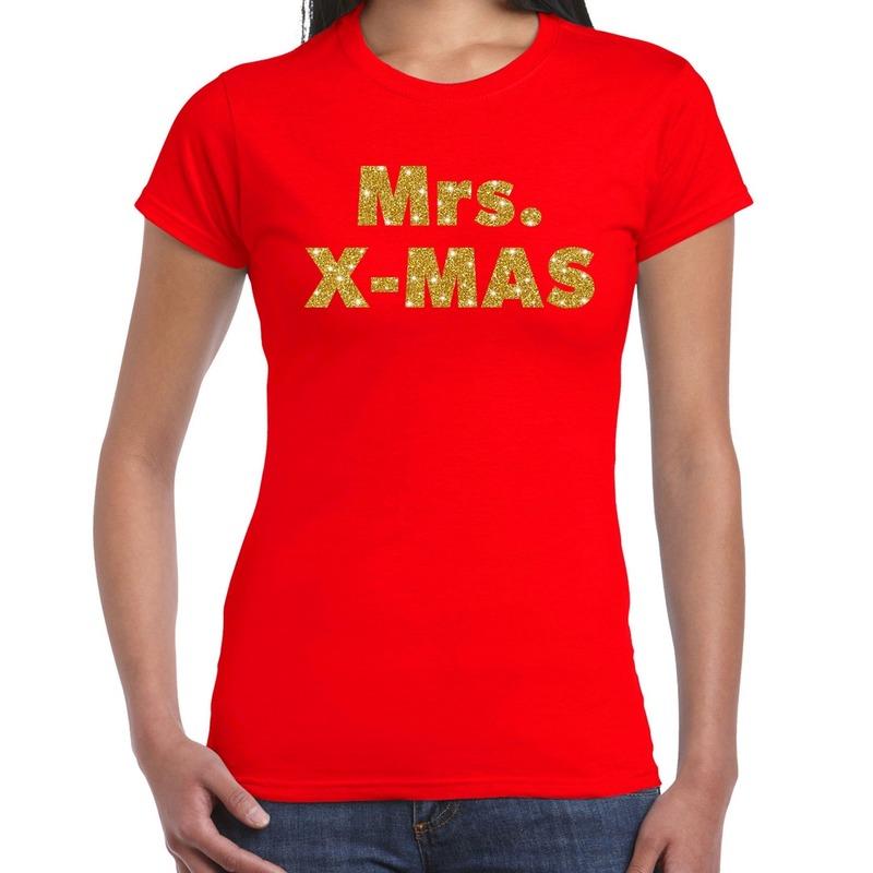 Fout kerst shirt mrs x-mas goud - rood voor dames